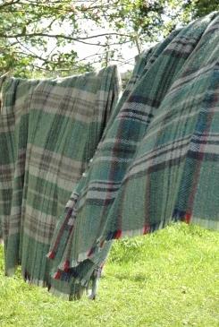 Green wool plaid throws