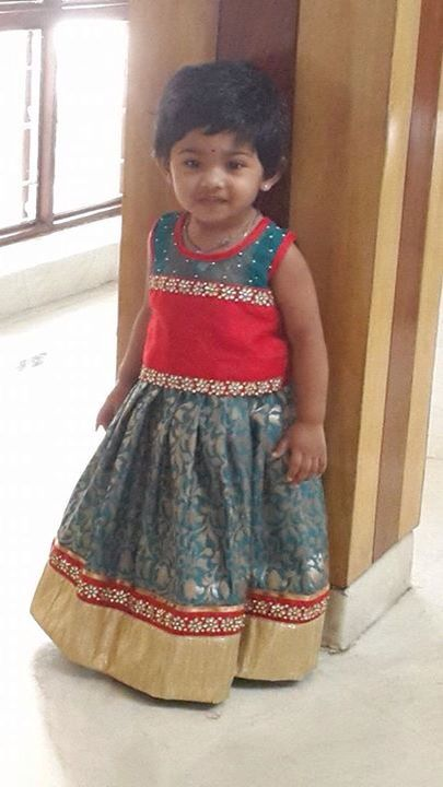 Blue and tend kids lehenga!