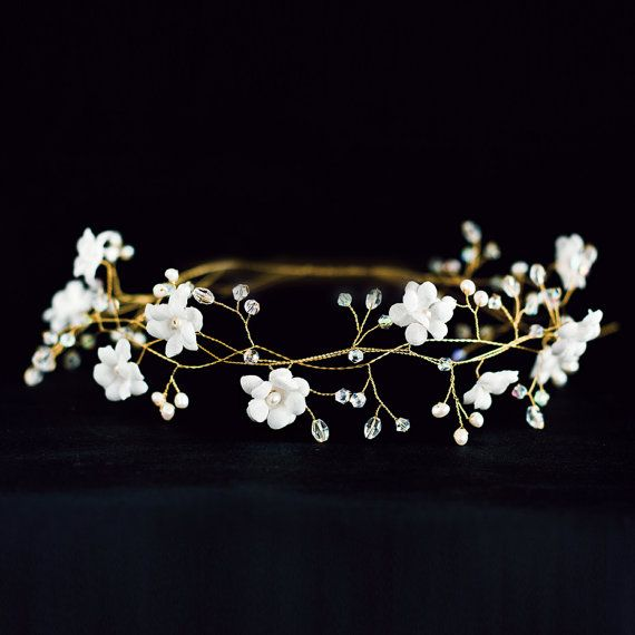 Bridal flower crown White flower crown bridal hair by ArsiArt,
