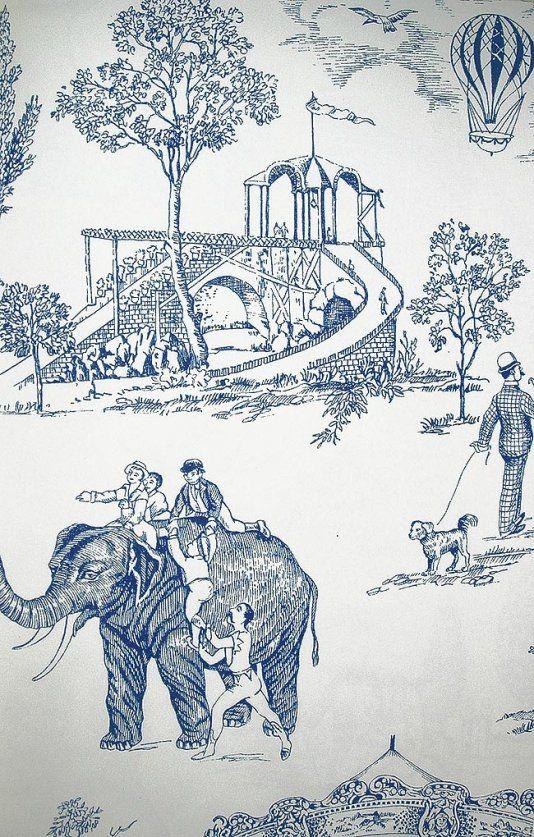 Carnival Toile Wallpaper A lovely carnival scenic wallpaper in blue on white