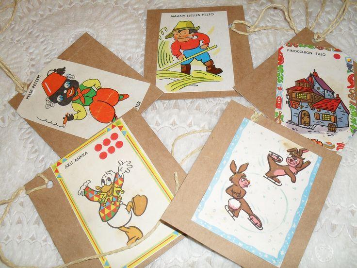 Pakettikortteja vanhoista pelikorteista ja näidenkin lahjojen saajat tunnistivat heti itsensä :)