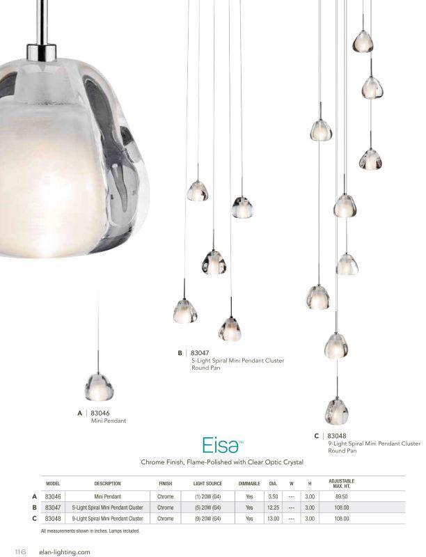 Elan Eisa Large Multi Light Pendant Catalog Page In Full Size
