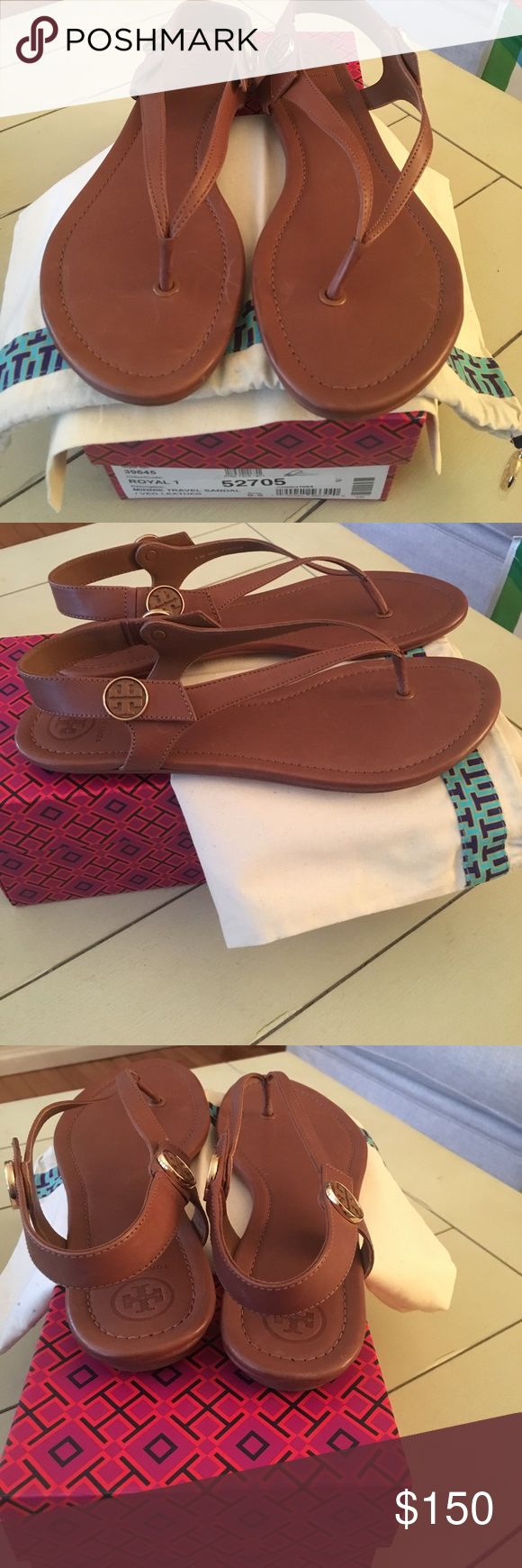 Brand new Tory Burch Minnie leather sandals Brand new comes with box and travel bag Tory Burch Minnie tan leather sandals. Has Tory Burch emblem on either side of ankle straps. Size 9.5 Tory Burch Shoes Sandals