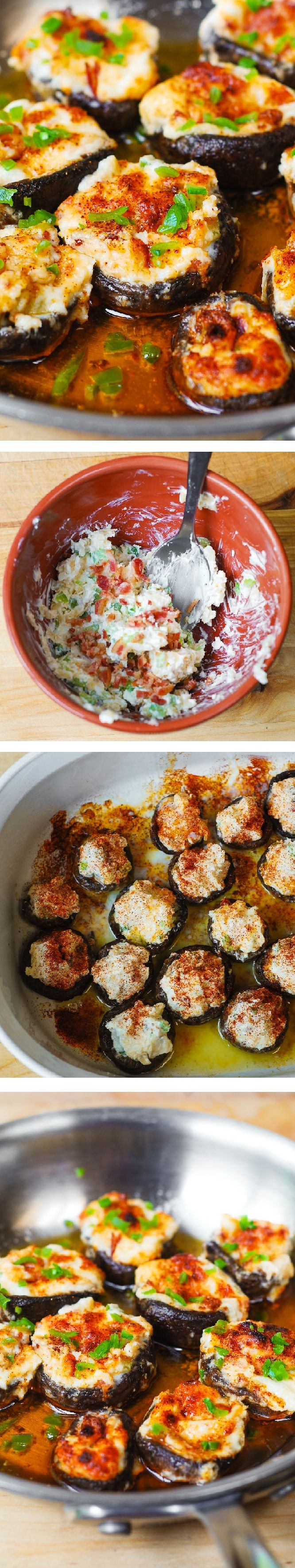 Bacon and Cheese Stuffed Mushrooms – delicious, homemade bite-sized mini-appetizers loved by adults and kids alike! Vegetables, snacks, party food, cheesy recipe