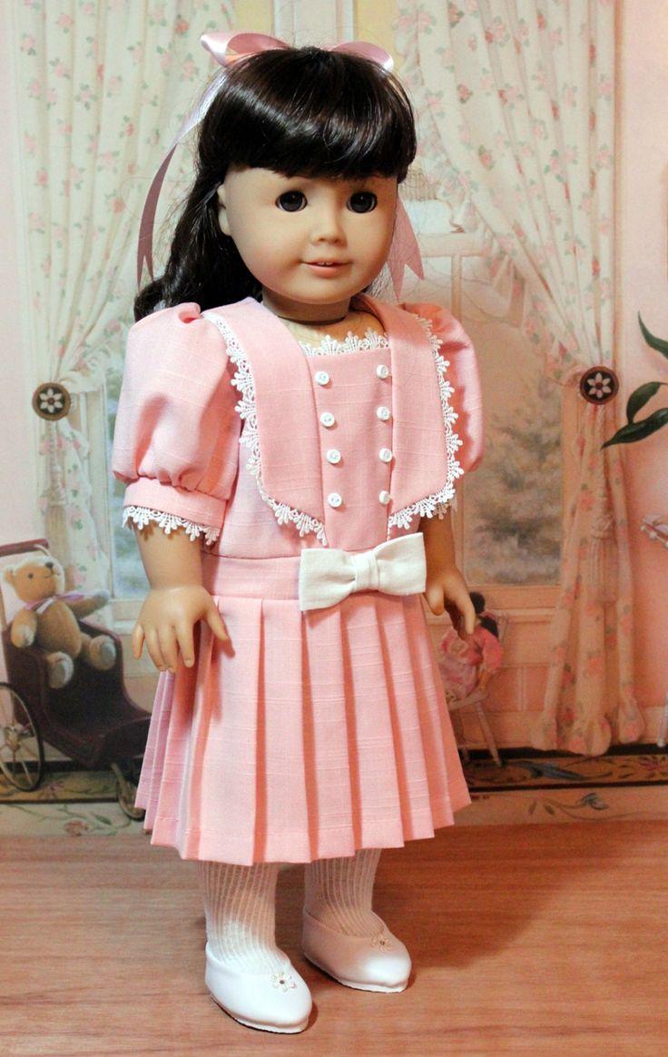 Pink Linen Dress for American Girl Doll. $48.00, via Etsy.