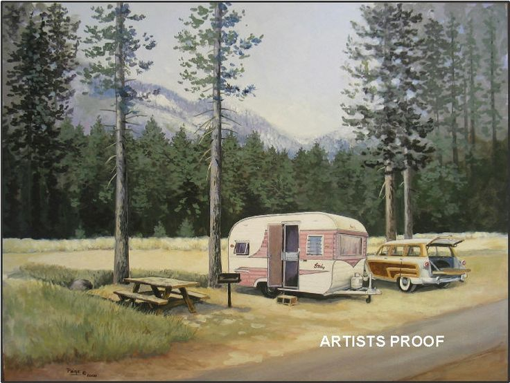 Paige Bridges Vintage Travel Trailer Art 1958 Stanley Steamer 1954 FORD Country Squire station wagon Fallen Leaf State Park Lake Tahoe camp campground camping campsite caseinWoody Stations, Pink Vintage, Caravan Art, Small Campers, Camps, Vintage Travel Trailers, Trailers Art, Painting, Vintage Campers