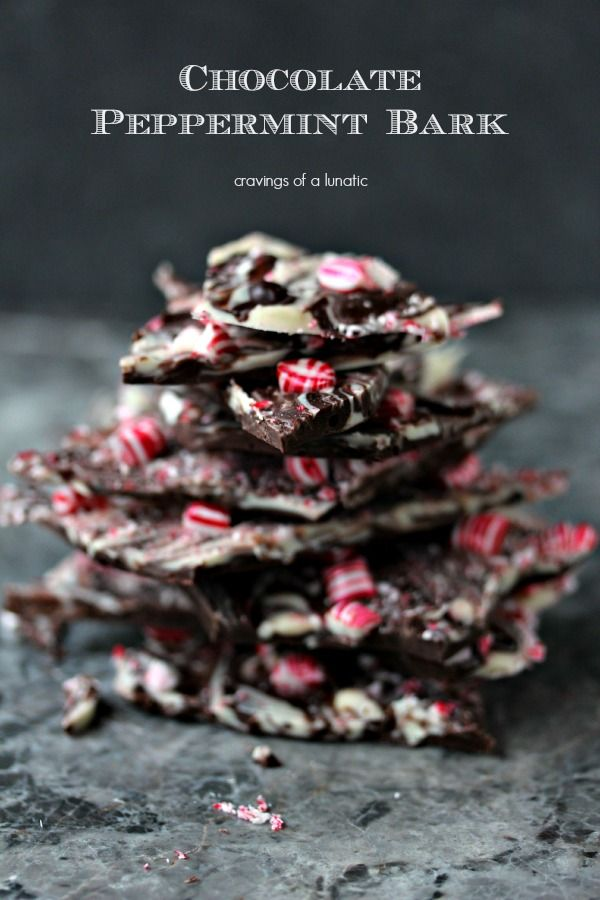 Chocolate Peppermint Bark   Super easy to make, this bark is ready in minutes. Layer some chocolate, toss some peppermint on top and it's perfection!