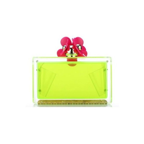 POSH GIRL Darling Daisy Acrylic Clutch Bag ($98) ❤ liked on Polyvore featuring bags, handbags, clutches, daisy handbag, lucite purse, clasp purse, lucite handbags and green clutches