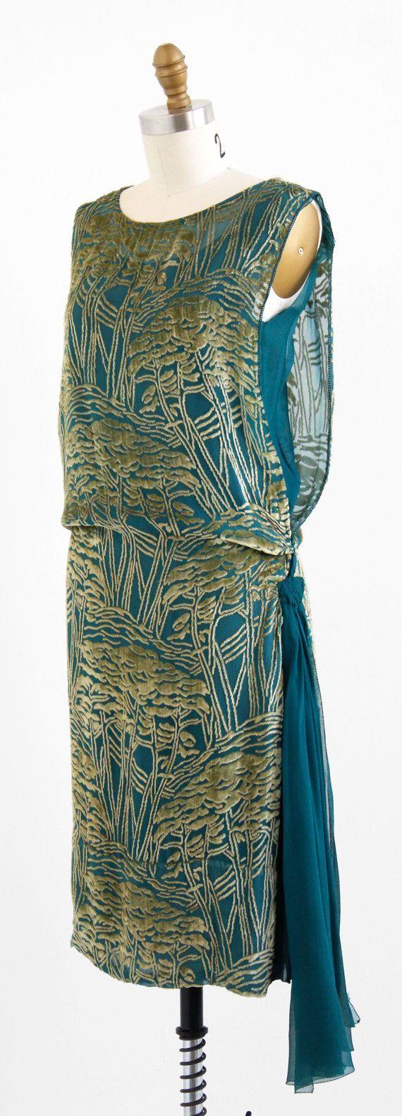 Teal silk and silver velvet tabard dress, 1920's