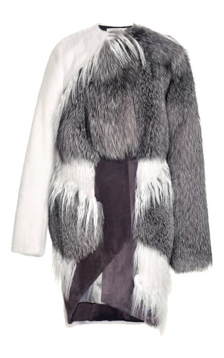 PRABAL GURUNG Asymmetric Mixed Fur Coat $23,550 ($11,775 deposit)