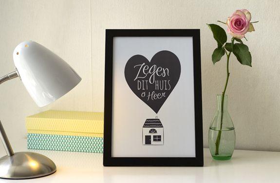 Christelijke wanddecoratie / print in frame met de tekst: Zegen dit huis, o Heer. Ontwerp van HEE Goodies.