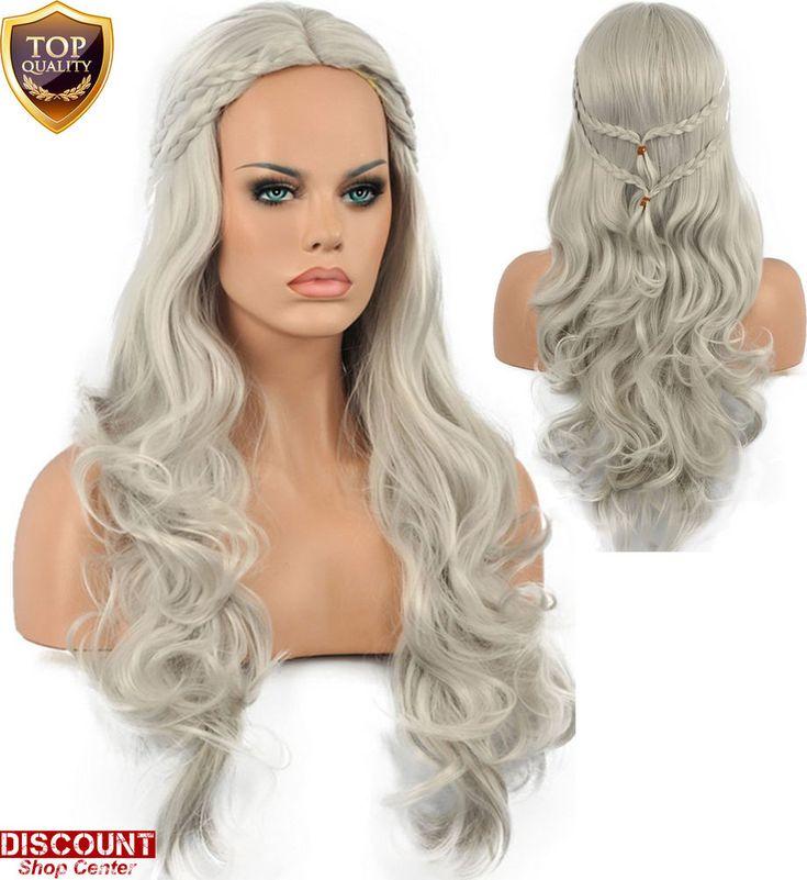 Halloween Grey Wig Khaleesi Long Hair Game of Thrones Cosplay Daenerys Targaryen #HalloweenWigGameofThronesCosplayKhaleesiHair