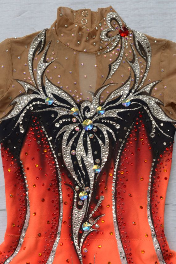 Orange Yellow Red Black rhythmic gymnastics leotard by TopLeotards $400