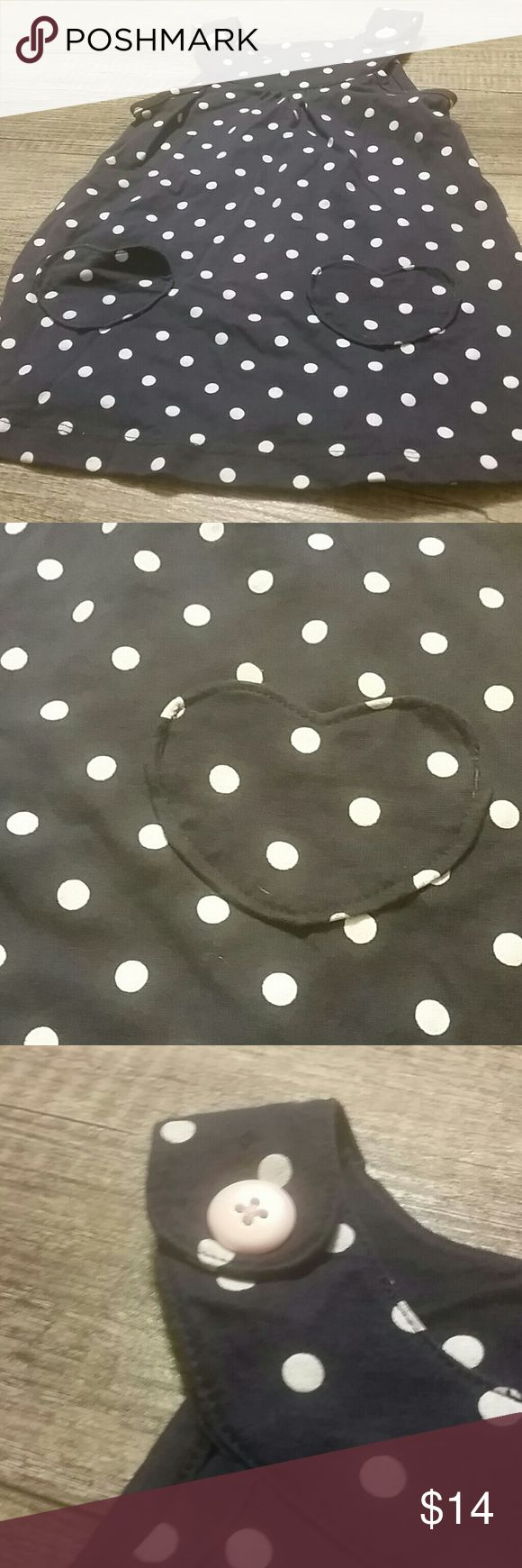 Blue and white polka-dot jumper has pink buttons Blue jumper, has heart pockets. Carter's Dresses Casual