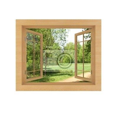 Fotobehang uitzicht vanuit het raam die op een witte