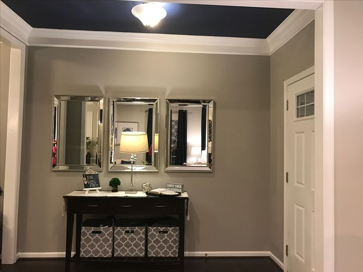 Ryan homes Rome model foyer, sherwin williams naval ceiling and mindful gray walls