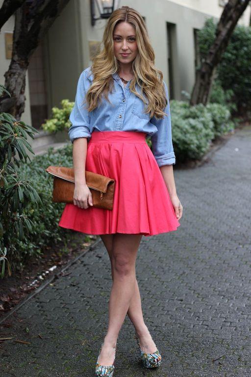 Bright skirt, chambray shirt
