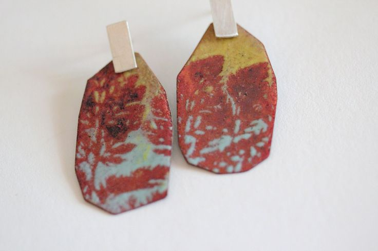 Enamel Earrings - OOAK - Red Yellow and Aqua - Lace stencil art by CynthiaDelGiudice on Etsy