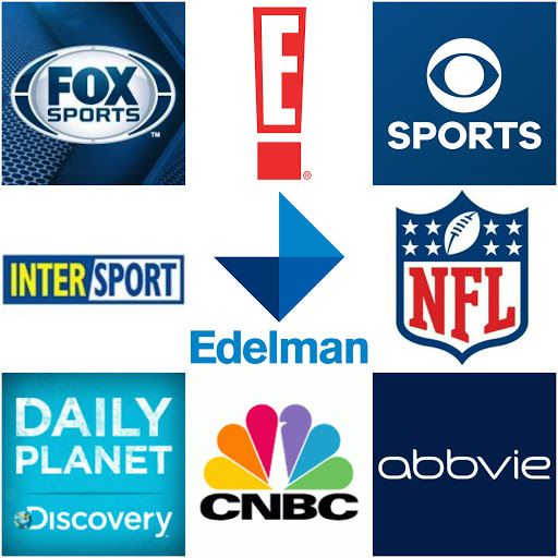Fox Sports, E! Entertainment, CBS Sports, Intersport, Edelman, NFL Network, Daily Planet, Discovery Canada, CNBC, Abbvie
