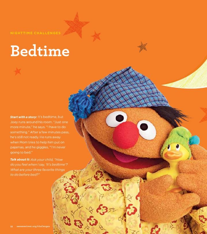 """Find tips for creating and maintaining a bedtime routine for your preschooler in Sesame Street's """"Little Children, Big Challenges"""" Family Guide. Download and print for FREE at: www.sesamestreet.org/Challenges."""
