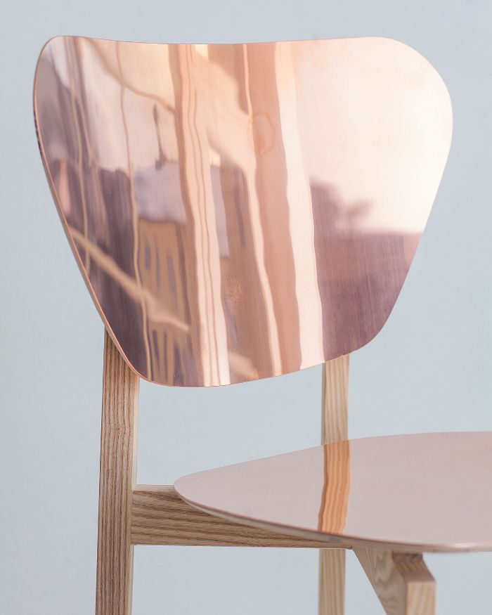 Doppio chair in copper & wood / Doppio café chair bois et cuivre par Riku Tuppela