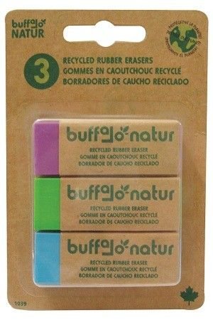 3 Pack Recycled Rubber Erasers, made from 100% recycled rubber.  Product made of 50% post-industrial and 40% post-consumer recycled material Packaging 95% biodegradable Printed with soy-based ink on 100% postindustrial recycled paper