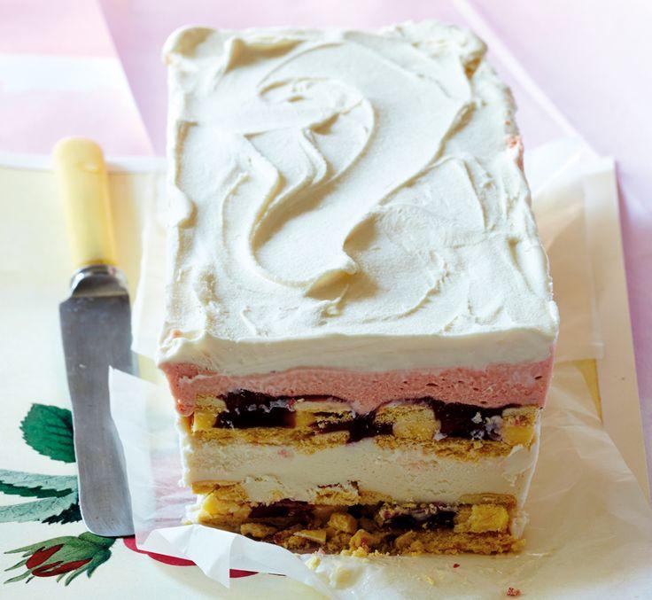 Amarula and strawberry cream ice-cream loaf