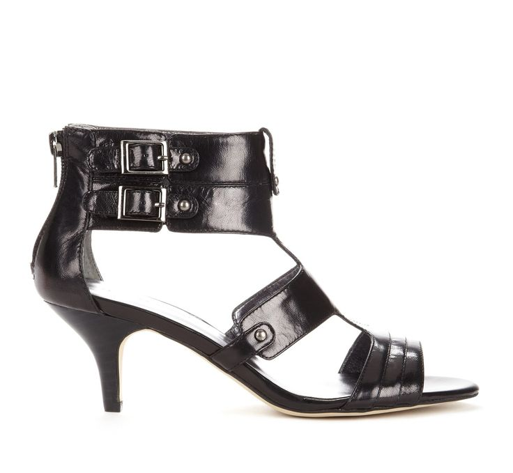 Black Buckle Detail Open Toe - Great style and low enough heel.