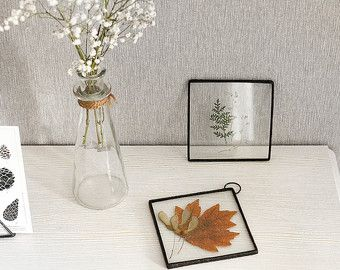 Scandinavian decor stained glass panels with oak and by WWHeart