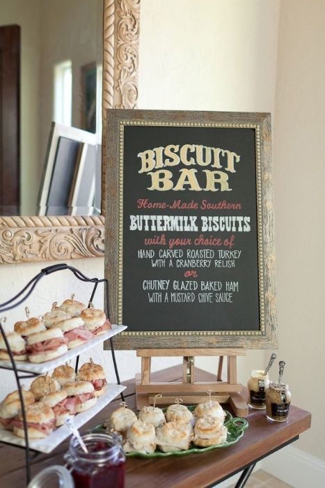 A biscuit bar is a great way to introduce some southern style in a light way. Offer a selection of filled sweet and savory biscuits such as country ham, roasted turkey and strawberry shortcake and serve with relishes and preserves.