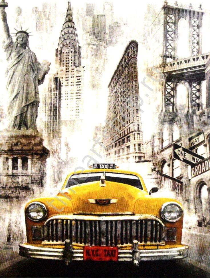 Символы Нью-Йорка, картина-раскраска по номерам на холсте ...