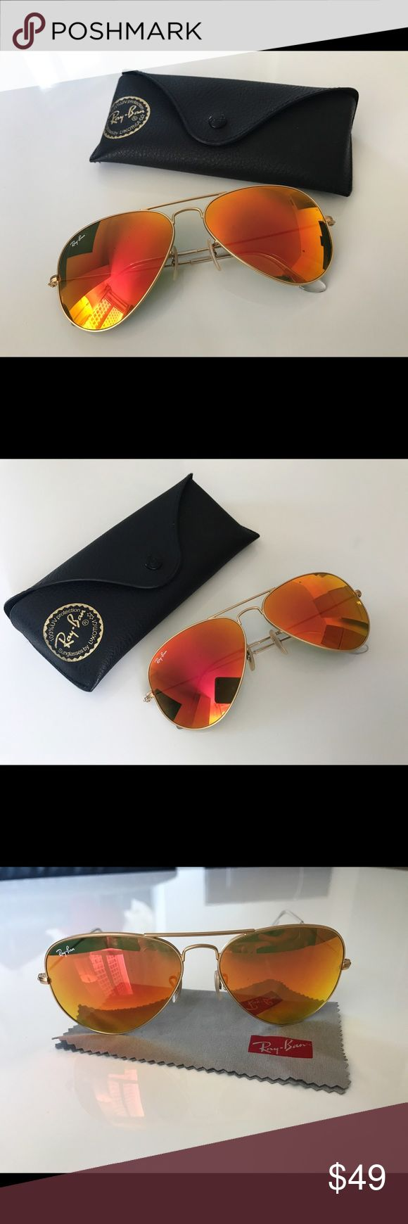 Ray-Ban Aviator Sunglasses Orange Mirror Lens 58mm Ray-Ban Aviator Sunglasses Orange Mirror Lens Gold Frame RB3025 112/69 58mm, Condition: Pre-Owned with Very light marks, Original price: $175 Ray-Ban Accessories Sunglasses