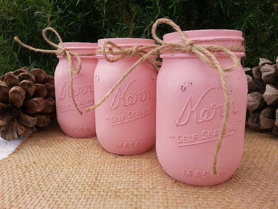 Rustic Cottage Chic Wedding, Bridal or Baby Shower Mason Jars- Distressed Centerpiece Great for Wedding Flowers or Candles