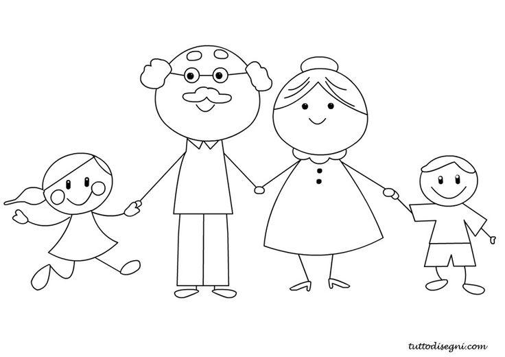 Nonni e nipoti da colorare - TuttoDisegni.com