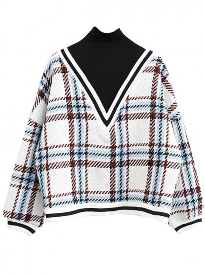 White Plaid Contrast High Neck Long Sleeve Knit Sweater | WithChic