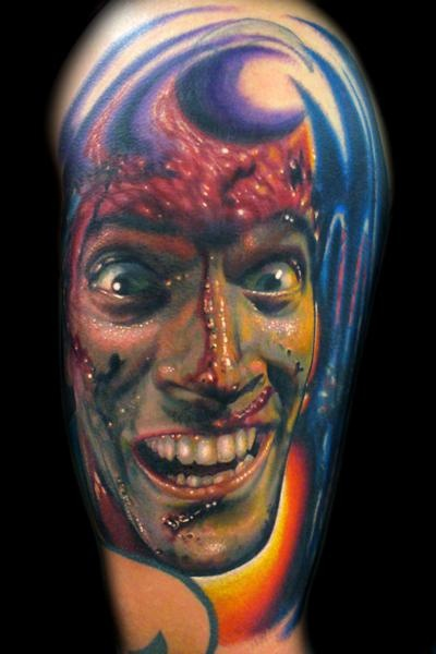 If you are a fan of the evil dead, as I am .. you will love these. They are mainly from the cult Sam Raimi film starring the legend Bruce Campbell, but they are awesome none the less. Of course for those who are not fans of Evil dead, you have to love the skill in these horror tattoos.