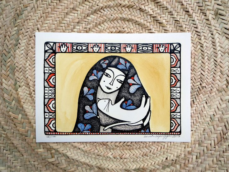 Watercolour art print, cat and woman, Moroccan inspired print, Ethnic home decor, Marrakech symbol, Lady holding a cat, cat illustration by BeatricePoggioArt on Etsy