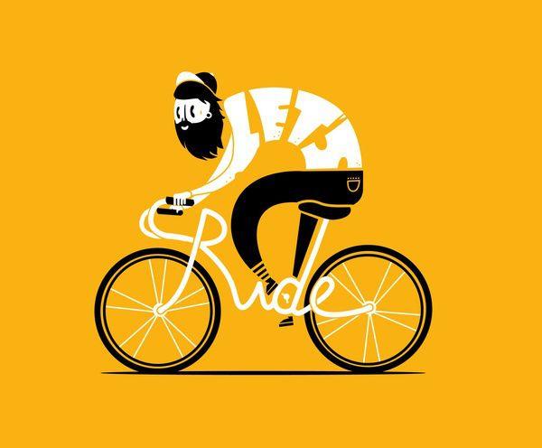 Let's ride poster, illustrazione uomo con barba in bici