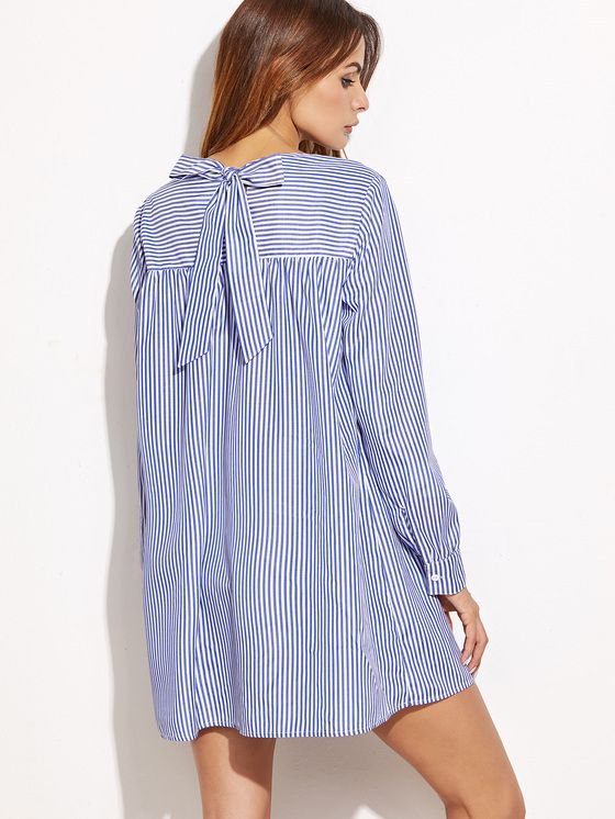 Online shopping for Blue Striped Tie Back Shift Shirt Dress from a great selection of women's fashion clothing & more at MakeMeChic.COM.