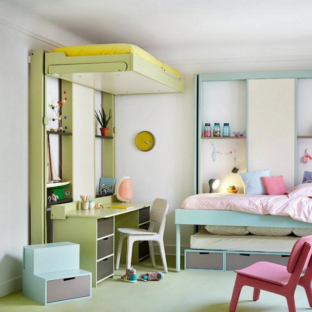 44 best inspirations enfants ado images on pinterest for Amenager une chambre pour deux enfants