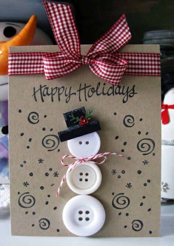weihnachtskarten basteln schneemann aus weißen knöpfen