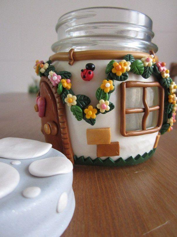 Декор банок полимерной глиной фото #2