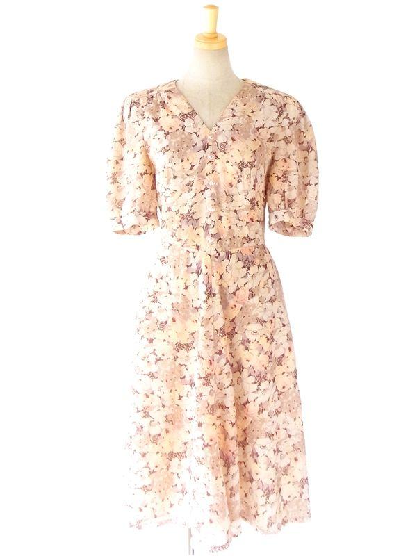 ヨーロッパ古着 ロンドン買付 70年代製 ベージュ X ピンク ロマンティックな花柄プリント ヴィンテージ ワンピース : 10BS323