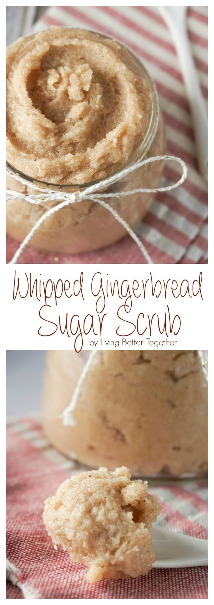 Treat your skin to a holiday treat with this Whipped Gingerbread Sugar Scrub! Everything you need is in your pantry making it the perfect last minute gift!