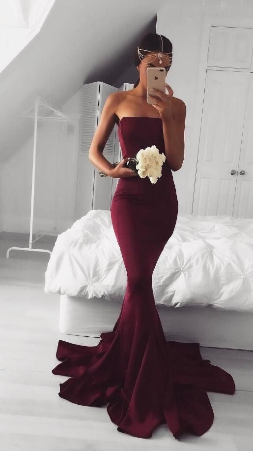 burgundy long prom dress bridesmaid dress, 2017 long prom dress, mermaid long burgundy prom dress, formal evening dress