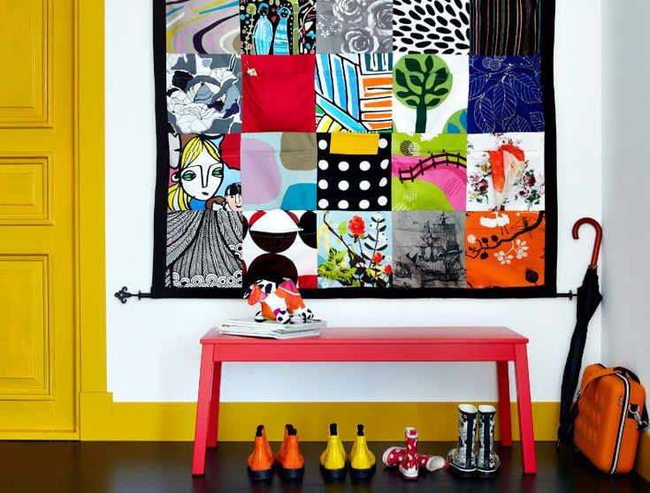 Like to sew? Create a colorful DIY wall organizer with pockets made from IKEA fabrics!