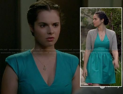 Bay's turquoise blue v-neck dress and grey shrug on Switched at Birth.  Outfit details: http://wornontv.net/18498/