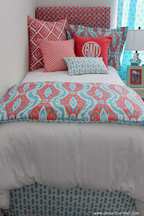 Coral & Aqua Designer Teen & Dorm Bed in a Bag | Teen Girl Dorm Room Bedding