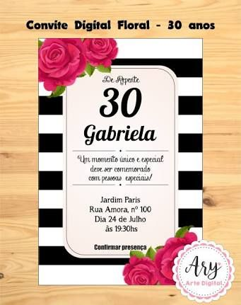 Resultado De Imagem Para Convite Aniversário De 30 Anos 30 Anos