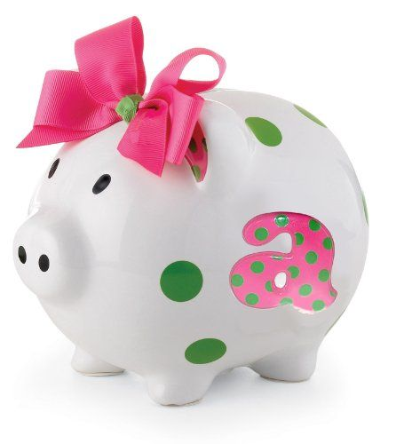 $22.50-$22.50 Baby Mud Pie Baby Girl Pink Initial Ceramic Piggy Bank, Letter A - Mudpie Baby Girl Pink Initial Ceramic Piggy Bank, Letter AThis little piggy wore polka-dots. Start her saving money early with a ceramic piggy bank adorned with baby's initial. White piggy with green polka-dots, embossed hand-painted initial detail and a pink ribbon with an embroidered initial. This is a gift she ca ...